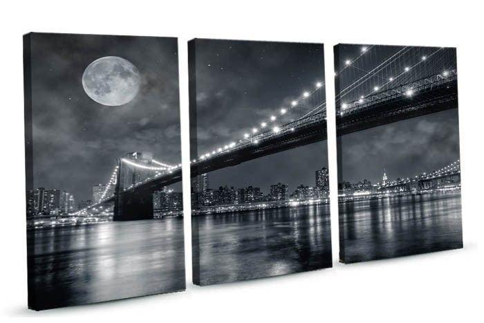 Trzy Prostokąty Brooklyn Bridge Czarno Biały 0077 Obraz Na